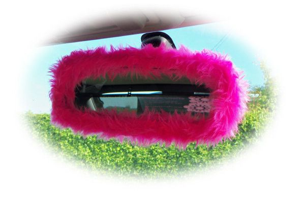 Hot barbie pink cute faux fur furry fluffy fuzzy rear view interior car mirror cover girly girl cerise bright