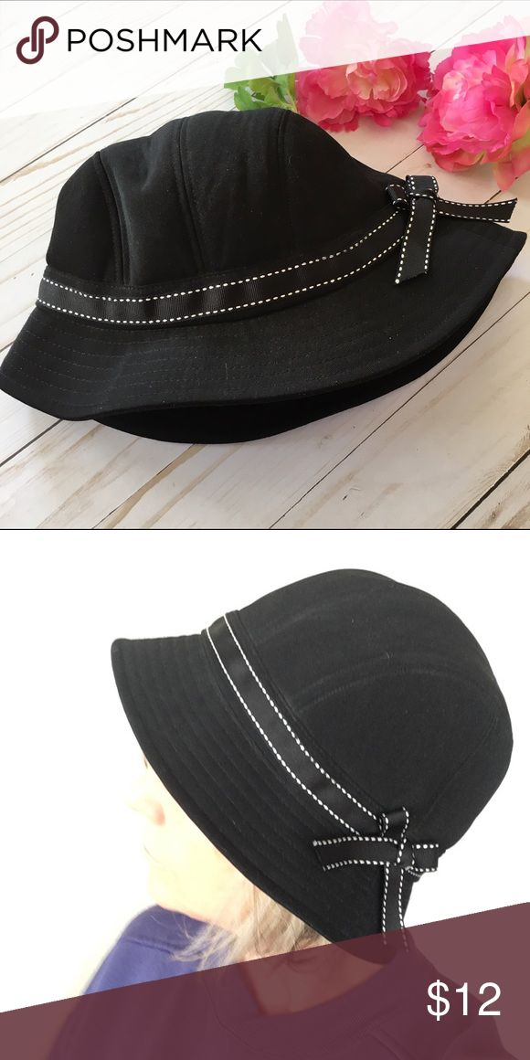 Black bowed bucket hat Black bucket hat with white top stitched ribbon. D & Y Accessories Hats