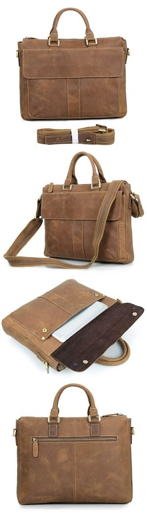 "Vintage Men's Handmade Crazy Horse Leather Briefcase Messenger 14"" 15"" Laptop 13"" 15"" MacBook Bag Bagail.com"