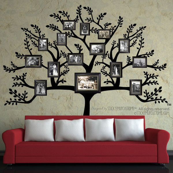 Tree Wall Decal Large Family Tree Branch Leaves Pictures Frames... ($85)