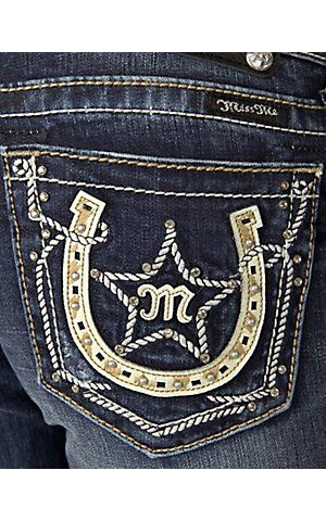 Miss Me® Ladies Cream Leather & Embroidery Horseshoe and Star w/ Crystals Open Pocket Boot Cut Jean | Cavender's Boot City