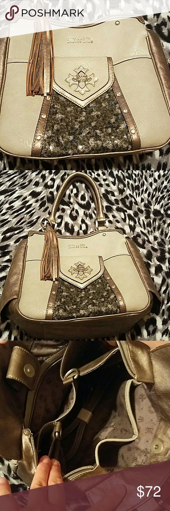 Barely Used Miss Me Purse Great condition! Only carried 3 times. Silver, with embellishments?? Miss Me Bags