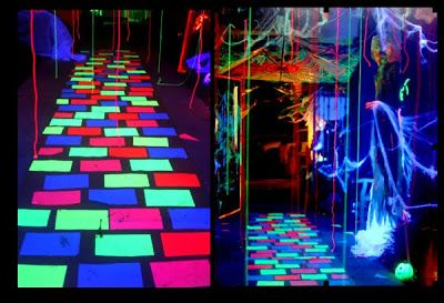 """DIY: Mystical Glowing Walkway. Halloween Glow in the Dark party easy and fun. Just a short-list of materials for a BIG effect: ~ Duct tape. ~ 3M """"Spray Mount"""" spray adhesive & ~ Fluorescent sheets of paper or Fluorescent spray paint. ~ A roll of paper from home center: paper-bag brown."""
