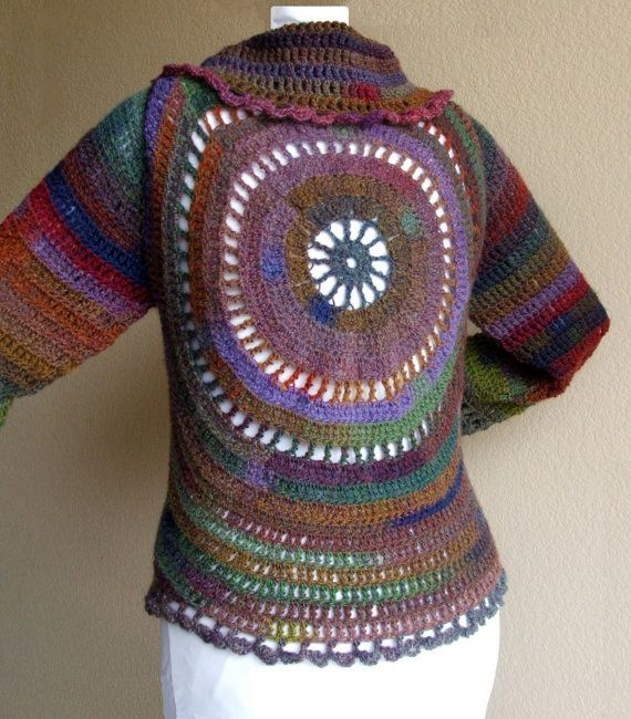 Multicolored Crocheted Circle Jacket by 3CatsFromCrazy on Etsy, $68.00