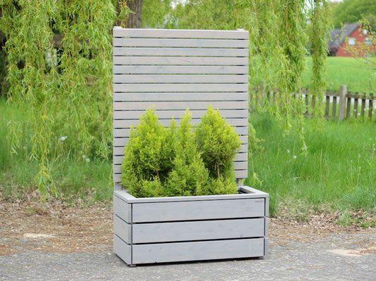 Pflanzkasten Holz mit Sichtschutz, Länge 112 cm, Höhe