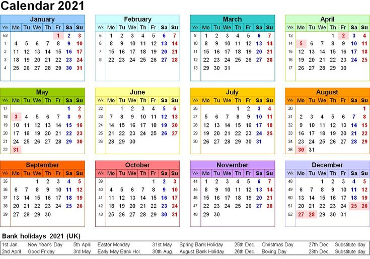 Printable Yearly Calendar 2021 Colorfull for All Genre di 2020