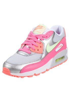 Roze Sneakers Nike Sportswear AIR MAX 90 Sneakers laag pure platinum liquid lime metallic zilver roze Kinder maat 36 37 5 38 38 5
