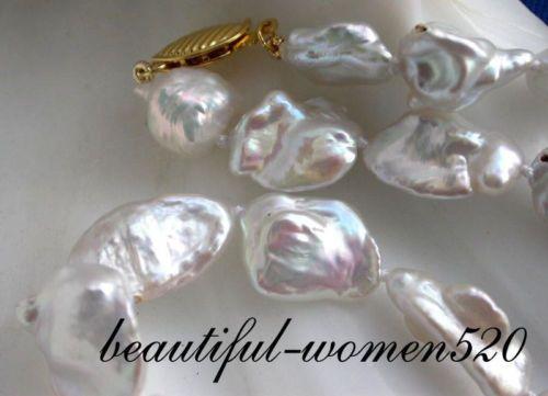 "16"" 18mm White Baroque Keshi Reborn Pearl Necklace | eBay"