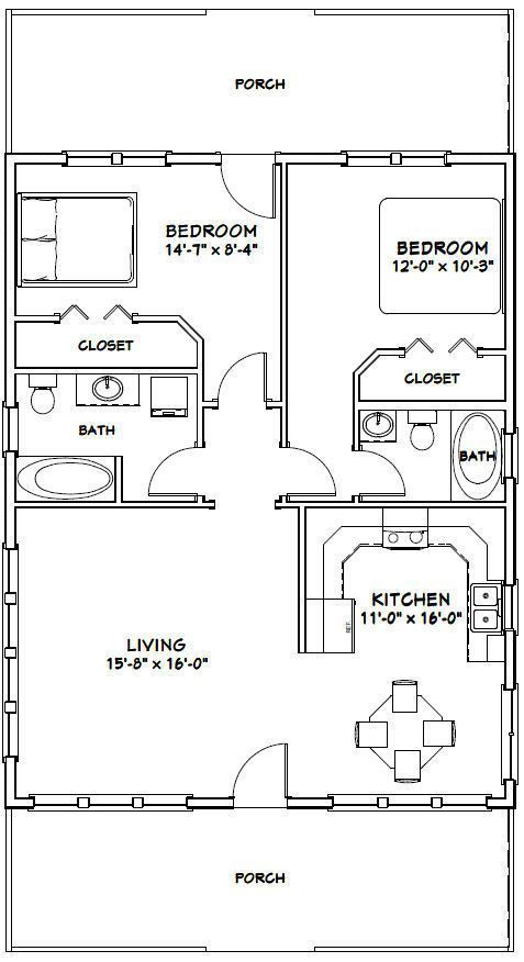 plan de maison 28 x 36