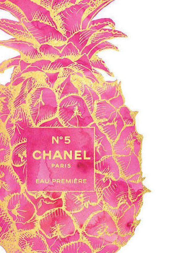 Pineapple, pineapple art, pink pineapple, gold pineapple,fashion art, fashion watercolor, fashion illustration, make up, wall art, perfume, Lipstick, Chanel