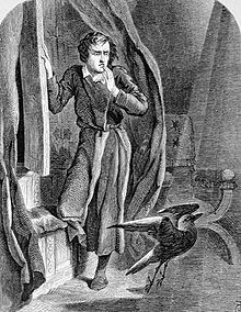 """""""The Raven"""" depicts a mysterious raven's midnight visit to a mourning narrator, as illustrated by John Tenniel (1858)."""