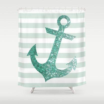 MINT GLITTER ANCHOR Shower Curtain