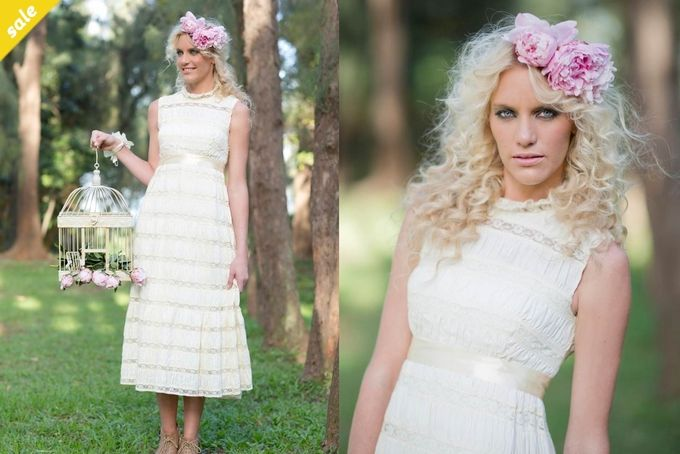 Vintage Cream Wedding Dress with Lace Detail by The Love Bucket