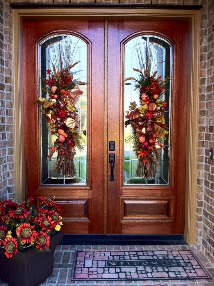 142 best Front door planter/Double door/matching wreath