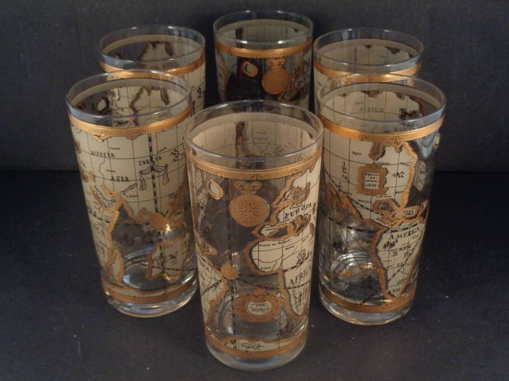 17 best crazy for culver images on pinterest barware nautical barware collection cera old world map highball glasses gumiabroncs Image collections