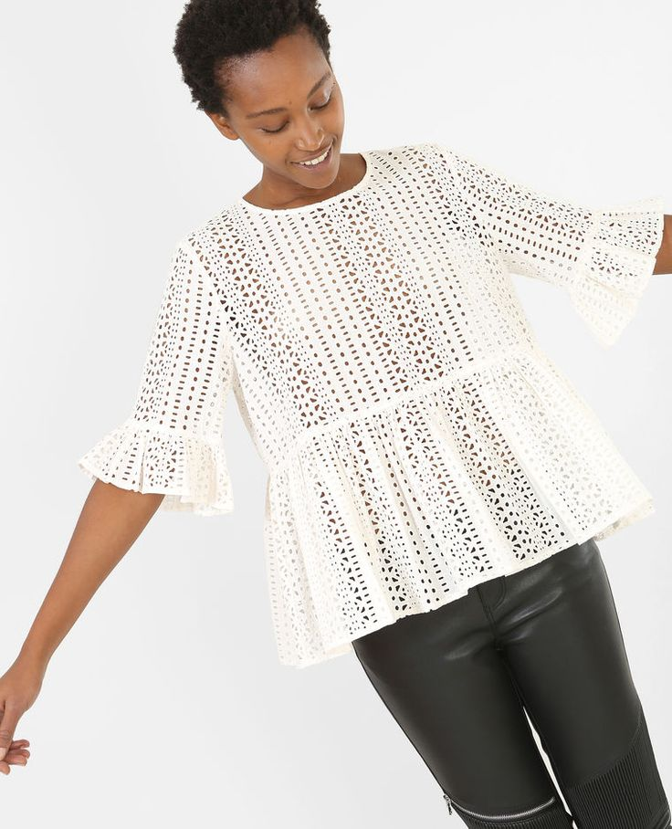 Blouse broderie anglaise blanc cassé · White ShirtsCasual StylesTee ...