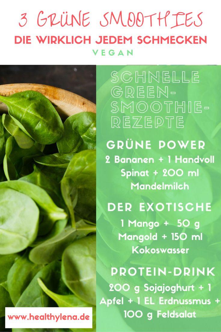Hier findest du drei Rezepte für grüne Smoothies, die wirklich jedem schmecken. Der perfekte gesunde Start in den Tag: vegan frühstücken leicht gemacht. Ideal für Einsteiger der Green Smoothies.