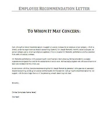 work recommendation letter template