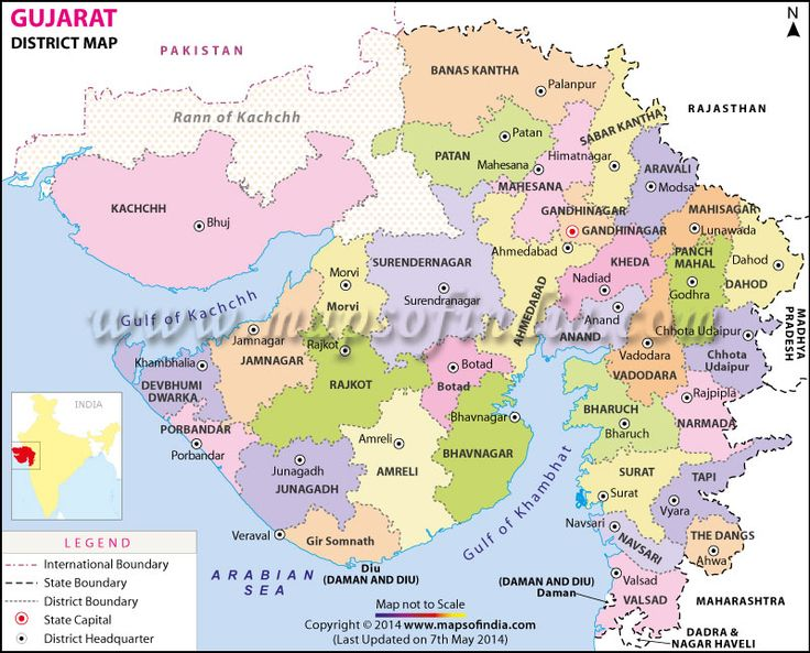 Map of Gujarat showing all the districts in the state.