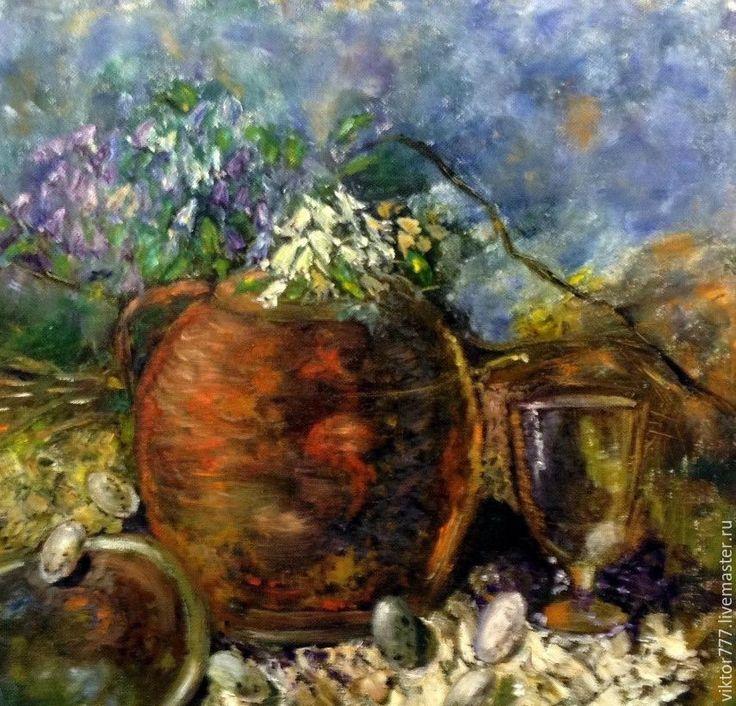 Купить Деревенский натюрморт - коричневый, горшок из глины, цветы, салфетка…