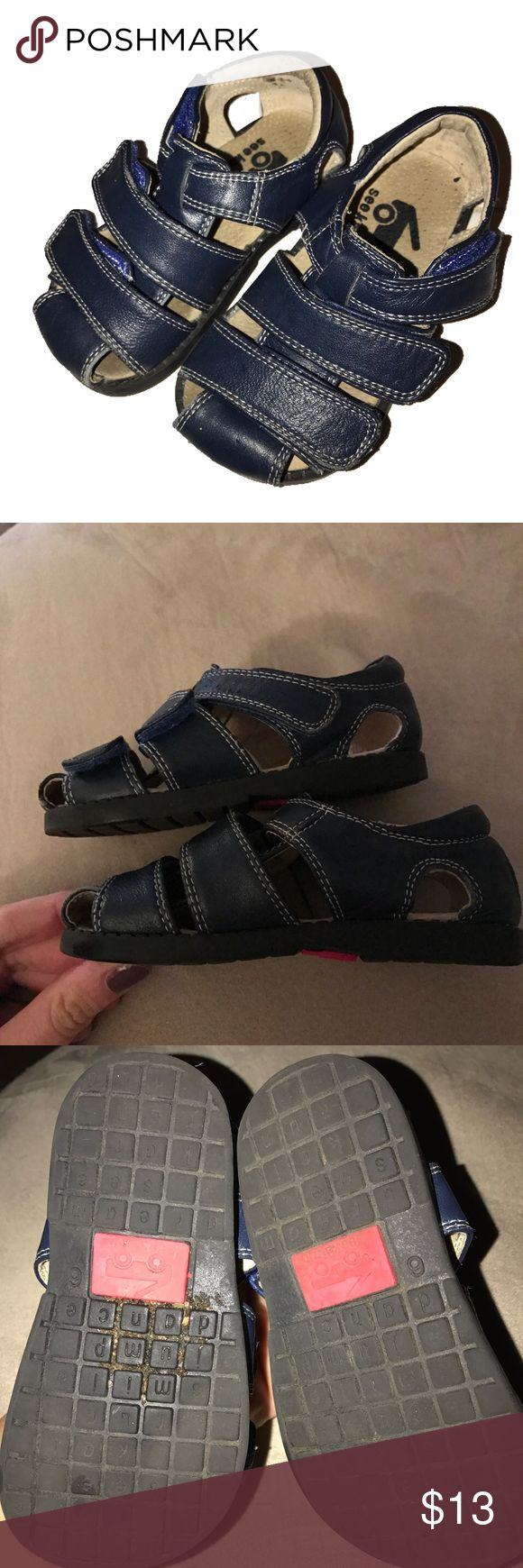 ⭐️See Kai Run Sz. 6 Navy Blue Velcro Sandals Shoes See Kai Run Size 6 Navy Blue Velcro Sandals Shoes. In great condition except for dirty bottoms and one spot inside of shoes by logo. I love that these shoes have 3 Velcro closures per shoe. This helps to adjust the fit perfectly to your little one. See Kai Run Shoes Sandals & Flip Flops