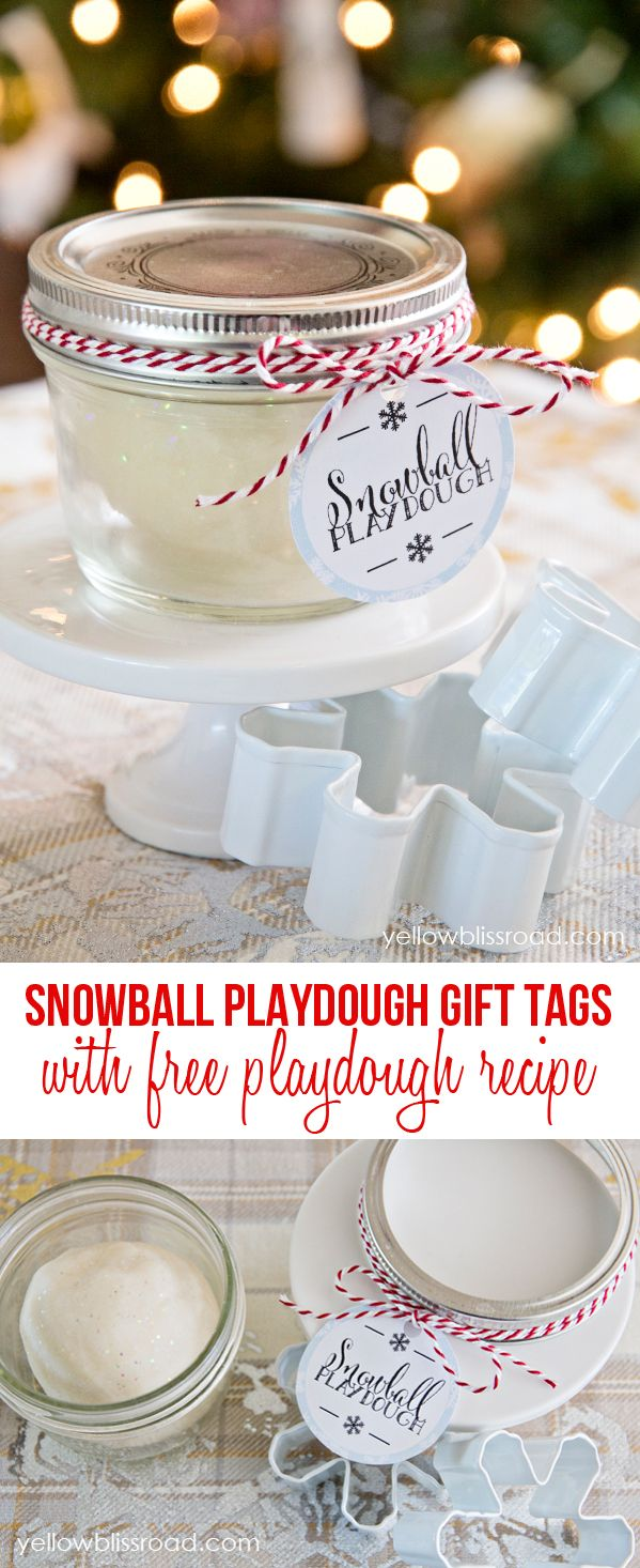 Free printable Snowball Playdough Gift Tags and free playdough recipe! - cute idea for a kid's holiday party!