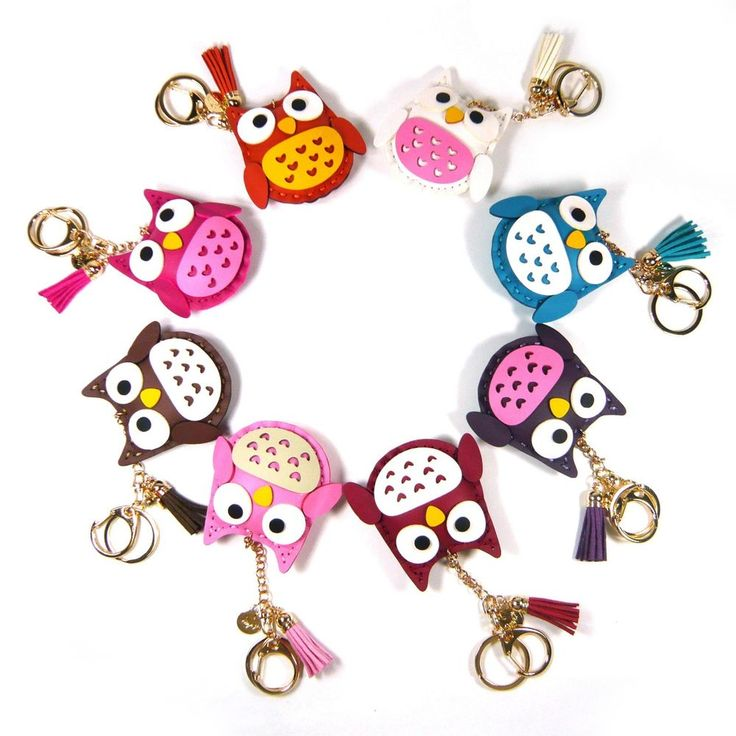 Lovely Cute Faux Leather Owl Hand Bag Charm Accessory Car Key Chain Ring Holder #Jacc