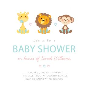 Cute Baby Animals - Free Printable Baby Shower Invitation Template | Greetings Island