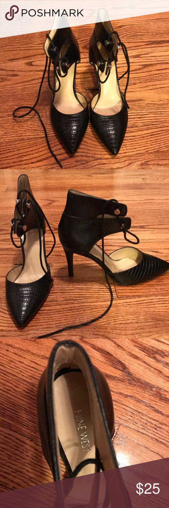 Nine West strap up heels Black lace up Nine West heels, never worn! Nine West Shoes Heels