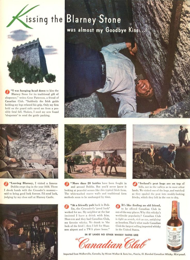 Kissing the Blarney Stone, Canadian Club Whisky, 1947.