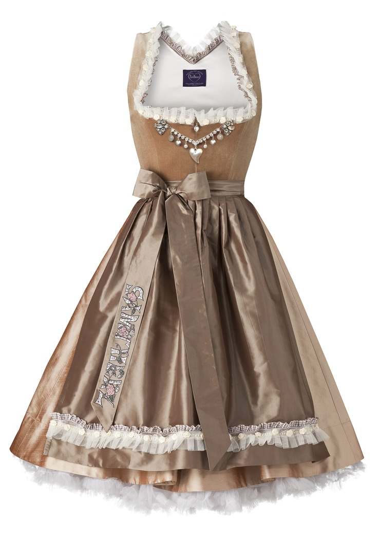 Oh how I adore the rich, sophisticated cafe latte hues in this Samtherz dirndl. #dress #dirndl #German #Austrian #traditional #folk #costume #trachten #tracht