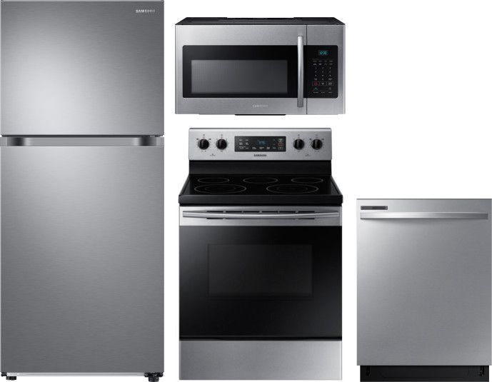 Samsung 4 Piece Kitchen Appliances Package With Top Freezer