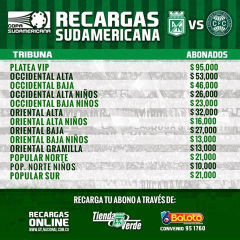 Los abonados verdolagas ya pueden recargar sus tarjetas para el partido de Copa Sudamericana vs Coritiba
