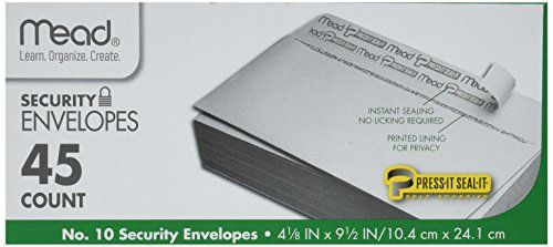 #Mead Press-it Seal-it #10 Security Envelopes, White, 45/Box (75026) Pack Of 4 = 180 Envelopes Security Envelopes