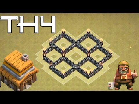 Clash Of Clans (CoC) Town Hall 4 (TH4) Defense  BEST WAR Base Layout Defense Strategy