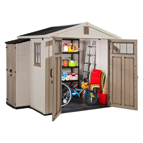 keter infinity 8 x 6 ft  storage shed with side cabinet