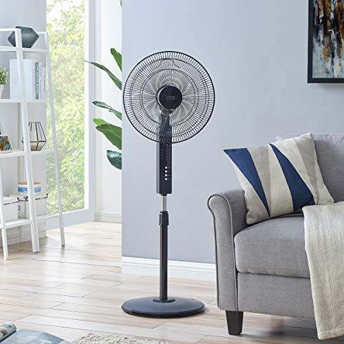Livivo Black Digital 16 Pedestal Oscillating Stand Fan With Remote Control Free Standing Cooling Fan Home Office Cool Air T Stand Fan Cool Stuff Cooling Fan
