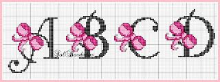 Cross-stitch Pink Ribbon ABCs, part 1 ... no color chart available, just use pattern chart as your color guide.. or choose your own colors...      Gráficos Ponto Cruz Angela Bordados: alfabeto