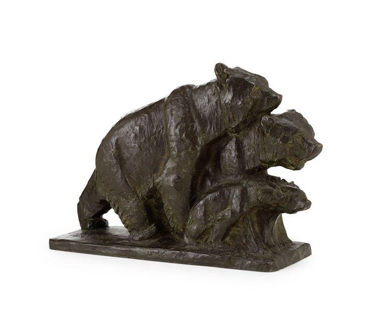 """** Jussi Mäntynen (Finnish 1886-1978), """"Bear Family"""" Sculpture, Patinated…"""