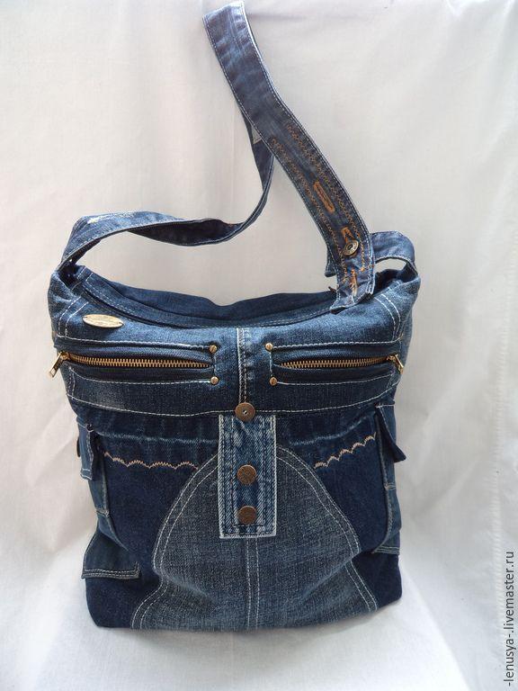 """Купить Двусторонняя джинсовая сумка """"СКОРОСТЬ"""" - синий, абстрактный, синяя…"""
