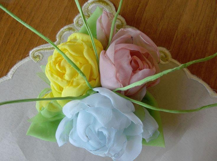 Букетик роз из ткани. Часть2