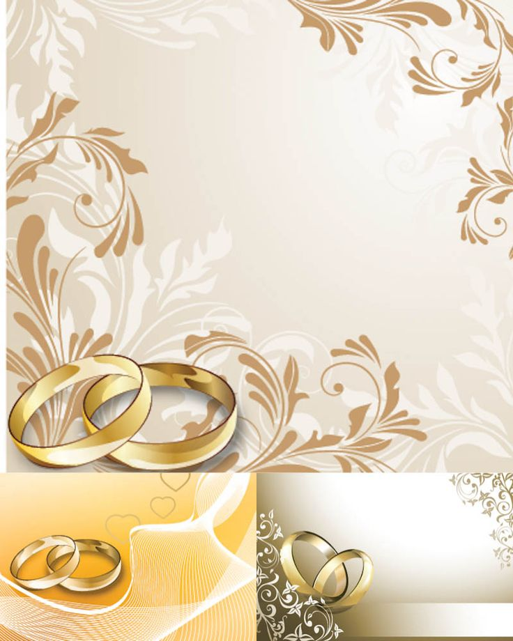 Wedding Card Designs Vector Set Of 3 With