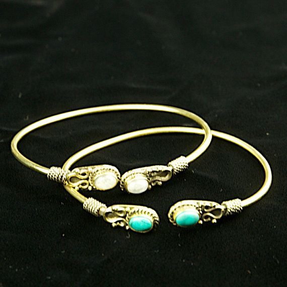 Gemstone bangles moonstone tribal bangle boho by DhanaJewellery
