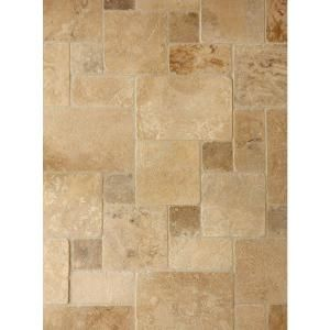 Really like this for the floor.  Need to check how large the tiles are.  Daltile Travertine Peruvian Cream Paredon Pattern Natural Stone Floor and Wall Tile Kit (6 sq. ft. / case)-TS36PATTERN1P at The Home Depot