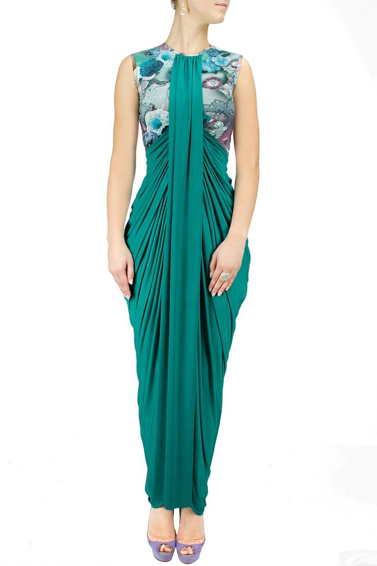 Floral printed teal drape gown available only at Pernia's Pop-Up Shop.