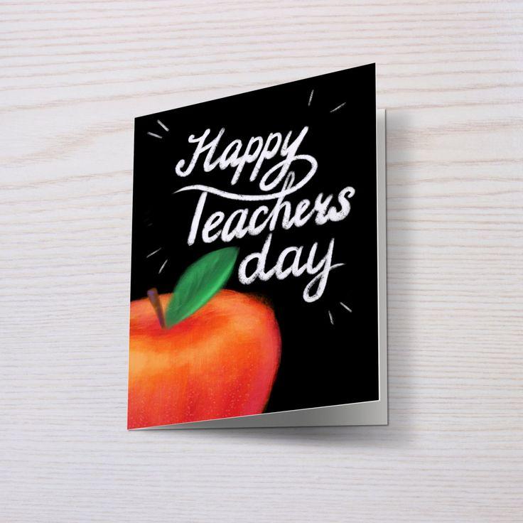 Happy Teacher's day, Thank you teacher card, apple card by EkaDS on Etsy