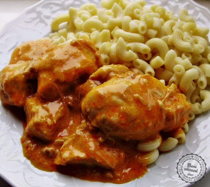 Paprikáš (Hungarian chicken in tomato cream sauce) best served with pasta or small dumplings