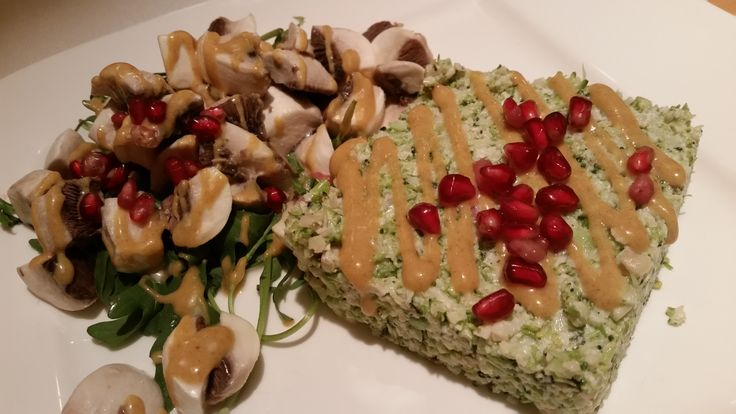 Raw Vegan Broccoli Mash with Sweet and Sour Sauce and Mushrooms