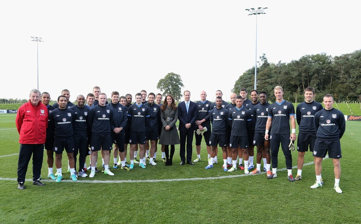Duke and Duchess of Cambridge with the England senior squad at the St George's Park opening