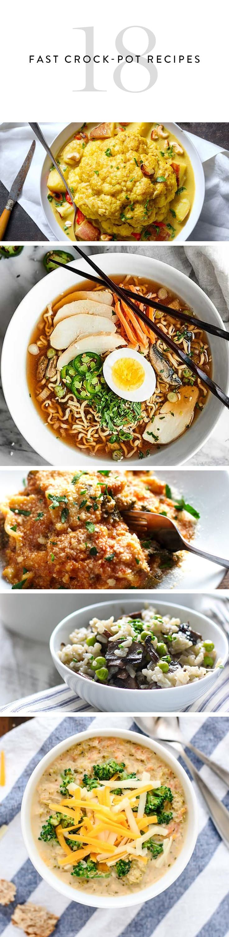 18 Crock-Pot Recipes You Can Make in 3 Hours via @PureWow (and mostly vegetarian) #mealprep #easy